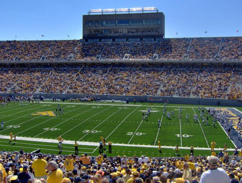 Seating view for Mountaineer Field Section 108 Row 42