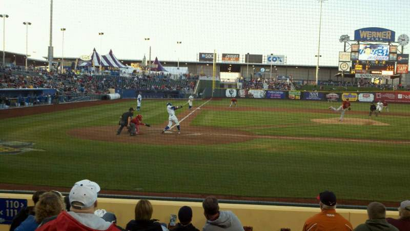 Seating view for Werner Park Section 110 Row 8 Seat 12