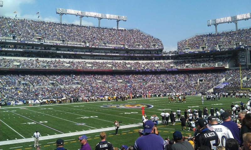 Seating view for M&T Bank Stadium Section 130 Row 17 Seat 3